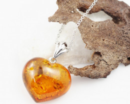 Baltic Amber Sale, Silver Love Heart Pendant  , direct from Poland  AM 738