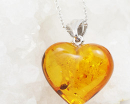 Baltic Amber Sale, Silver Heart Pendant , direct from Poland  AM 739