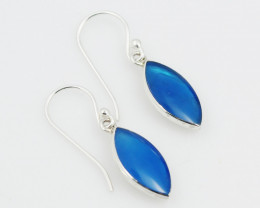 Blue Agate  silver Earrings,Sheppard Hooks AM 740