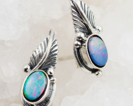 cute Opal Doublet  silver Earrings, AM 749