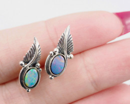 cute Opal Doublet  silver Earrings, AM 750