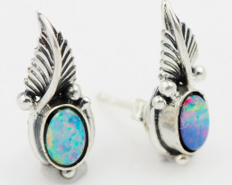 Doublet Silver Opal Earrings