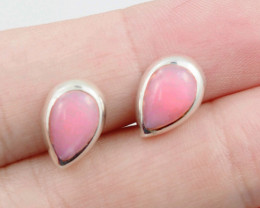 cute Pink Opal  silver Earrings, AM 754