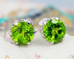 14 K White Gold Peridot & Diamond Earrings - E 8973 5750