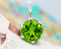 14 K White Gold Peridot & Diamond Pendant - P 8973 5000