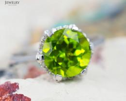 14 K White Gold Peridot & Diamond Ring size 7 - R 8973 7900