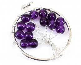 Purple Amethyst Tree Pendant