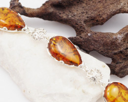 Baltic Amber Sale, Silver Bracelet , direct from Poland  AM 759