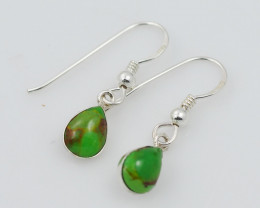 green turquoise col silver Earrings, sheppard hooks,AM 766