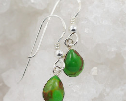 green turquoise col silver Earrings, sheppard hooks,AM 767