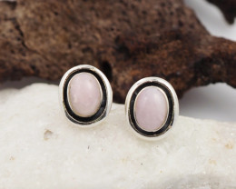Pink peru opal silver Earrings, AM 766