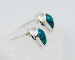 natural green chrysocolla silver Earrings, ,AM 773