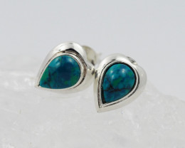 natural green chrysocolla silver Earrings, ,AM 774