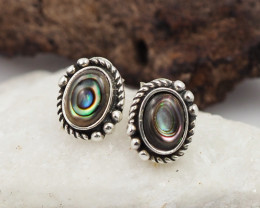 natural paua shell silver Earrings, ,AM 775