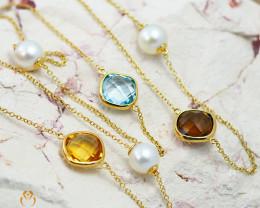 Stylish Gemstone & Fresh Water Pearl Bracelet in 18K Gold - 66 - B 11517