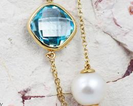 Stylish Blue Topaz & Fresh Water Pearl Bracelet in 18K Gold - 64 - B 11