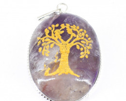 Bi-Color Amethyst Tree Pendant