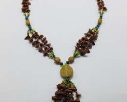 One Piece yellow and Green Jade Necklace 34 Grams