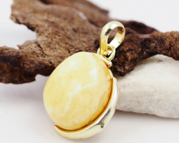 Baltic Honey Amber Sale,Gold plated  silver  Pendant , AM787