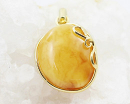 Baltic Honey Amber Sale, Gold plated  silver   Pendant , direct from Poland