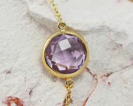Stylish Pink Amethyst Bracelet in 18K Gold - 54 - B 9933C 1600