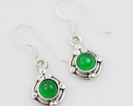 Green Agate  silver Earrings, Sheppard hooks ,AM 792