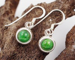 Round Green Agate  silver Earrings, Sheppard hooks ,AM 794