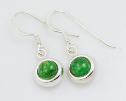 Round Green Agate  silver Earrings, Sheppard hooks ,AM 795