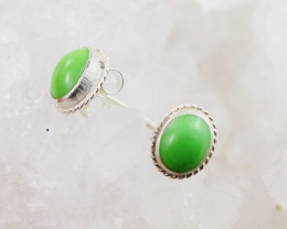 Oval cute Green Agate  silver Earrings,  ,AM 797