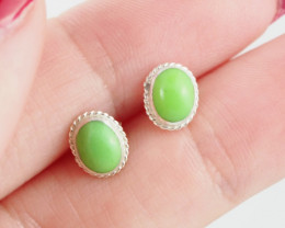 Oval cute Green Agate  silver Earrings,  ,AM 798
