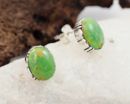 Oval large Green Agate  silver Earrings,  ,AM801