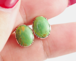 Oval large Green Agate  silver Earrings,  ,AM 802