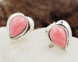 syn pink coral  silver Earrings,  ,AM 806