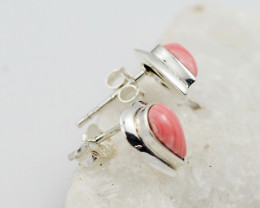 syn pink coral  silver Earrings,  ,AM 807