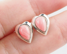 pink coral  silver Earrings,  ,AM 808