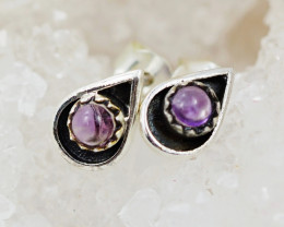 cute small Amethyst  silver Earrings,  ,AM 81