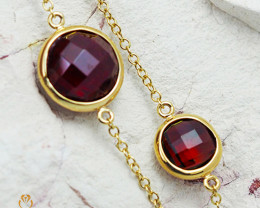 Stylish Garnet Bracelet in 18K Gold - 63 - B 11028C 1800