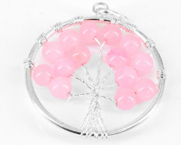 Pink Rose Quartz Tree Pendant