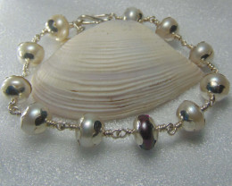 fresh water pearls white and black bracelet pure silver 94.80cts