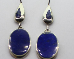 100 % Natural Lapis Lazuli  Earrings  925 Silver