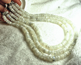 887.0 Tcw. Three Strand Indian Moonstone Necklace - Beautiful