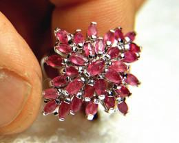 41.5 Fancy, Fun, Fiery Sterling Silver, Ruby Ring - Size 6.5