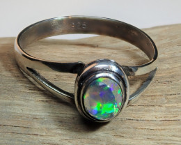 7sz Mexican Water  Opal Sterling Silver Ring