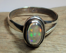 5 sz Mexican Water  Opal Sterling Silver Ring