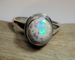 7 sz Mexican Matrix Fire  Opal Sterling Silver Ring