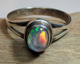 6 sz Mexican Matrix Fire  Opal Sterling Silver Ring