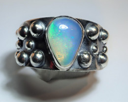 7 SZ BRILLIANT WELO OPAL STERLING RING