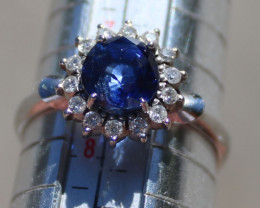 Blue Sapphire 1.90ct with Diamonds 18k Solid Gold Cocktail Ring, AIGL Certi