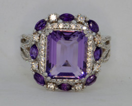 Natural Amethyst, CZ and Silver Ring