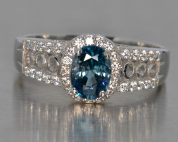 Natural Blue Zircon, Cz and Silver Gents Ring (White Gold Coated)